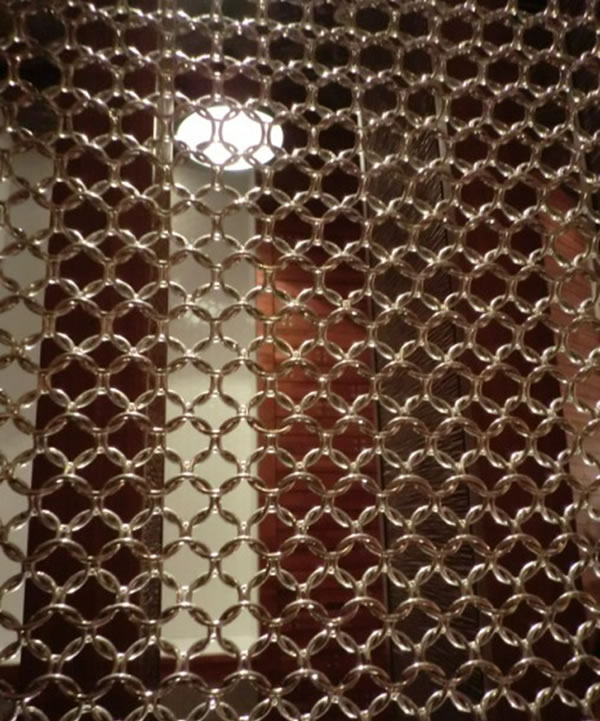 Decorative Curtain Fabrics Looped With Metal Rings